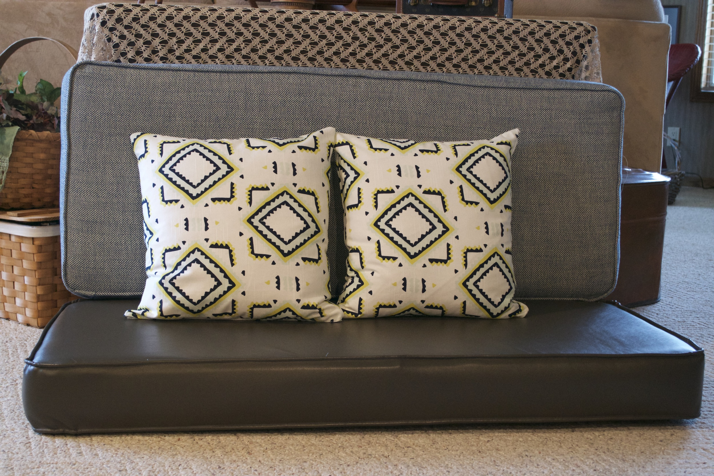 Pretty professional-grade stuff, right? The patterned pillows are the Nate Berkus fabric I was telling you about.
