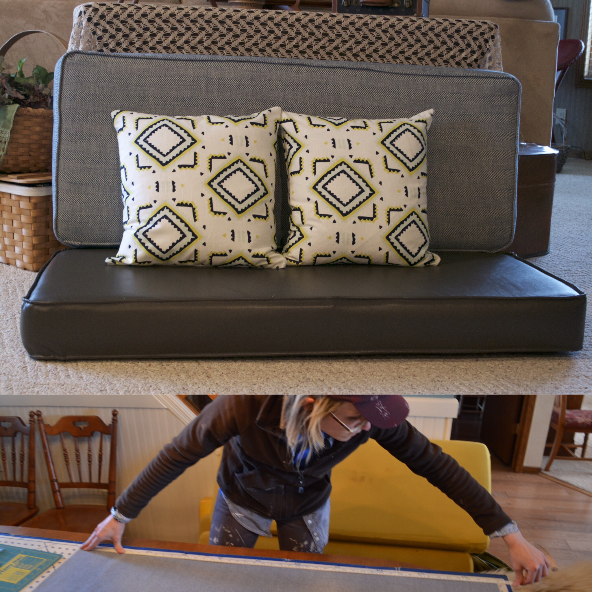 Reupholstering our bench seat cushions =no joke. But after five long weekends, we finally did it.