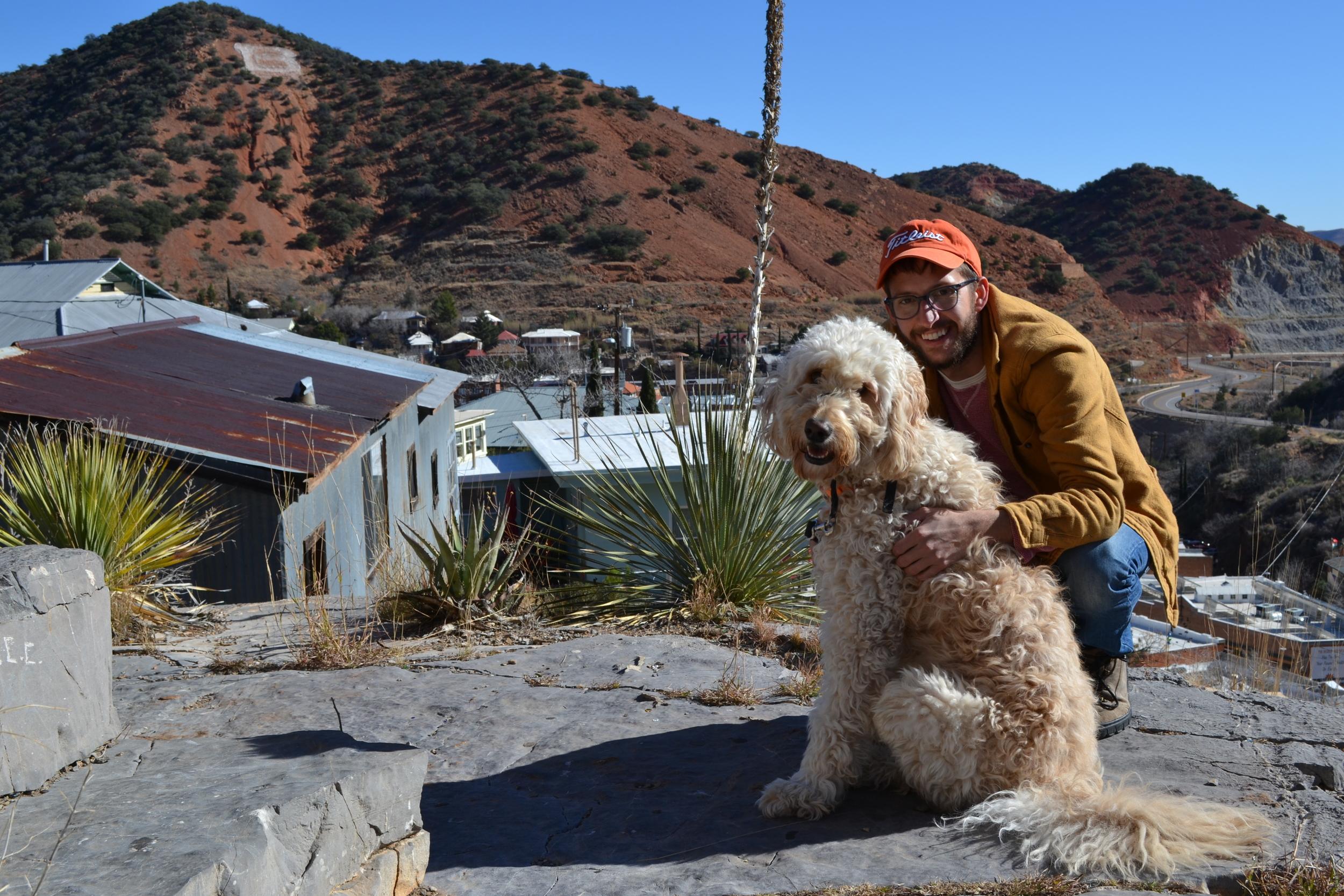 Just me and my dog, chilling above Bisbee, Arizona.