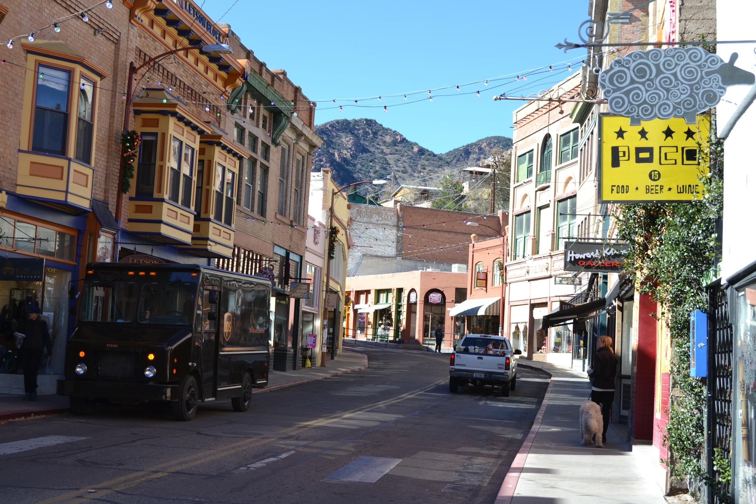 Mel and Costello tour downtown Bisbee, Arizona.