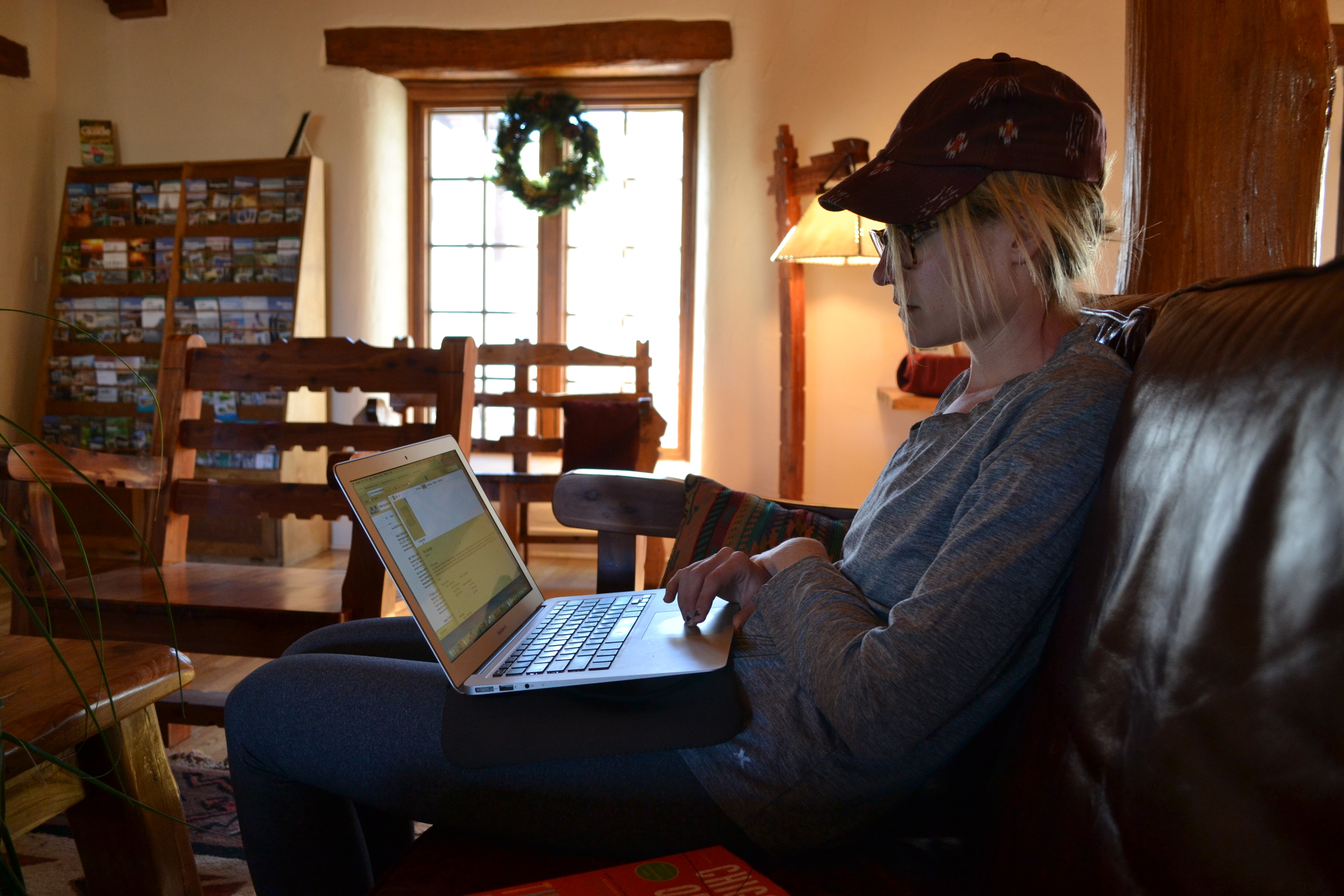 Mel attempting to download a Christmas movie at the Indian Lodge, Davis Mountains State Park.