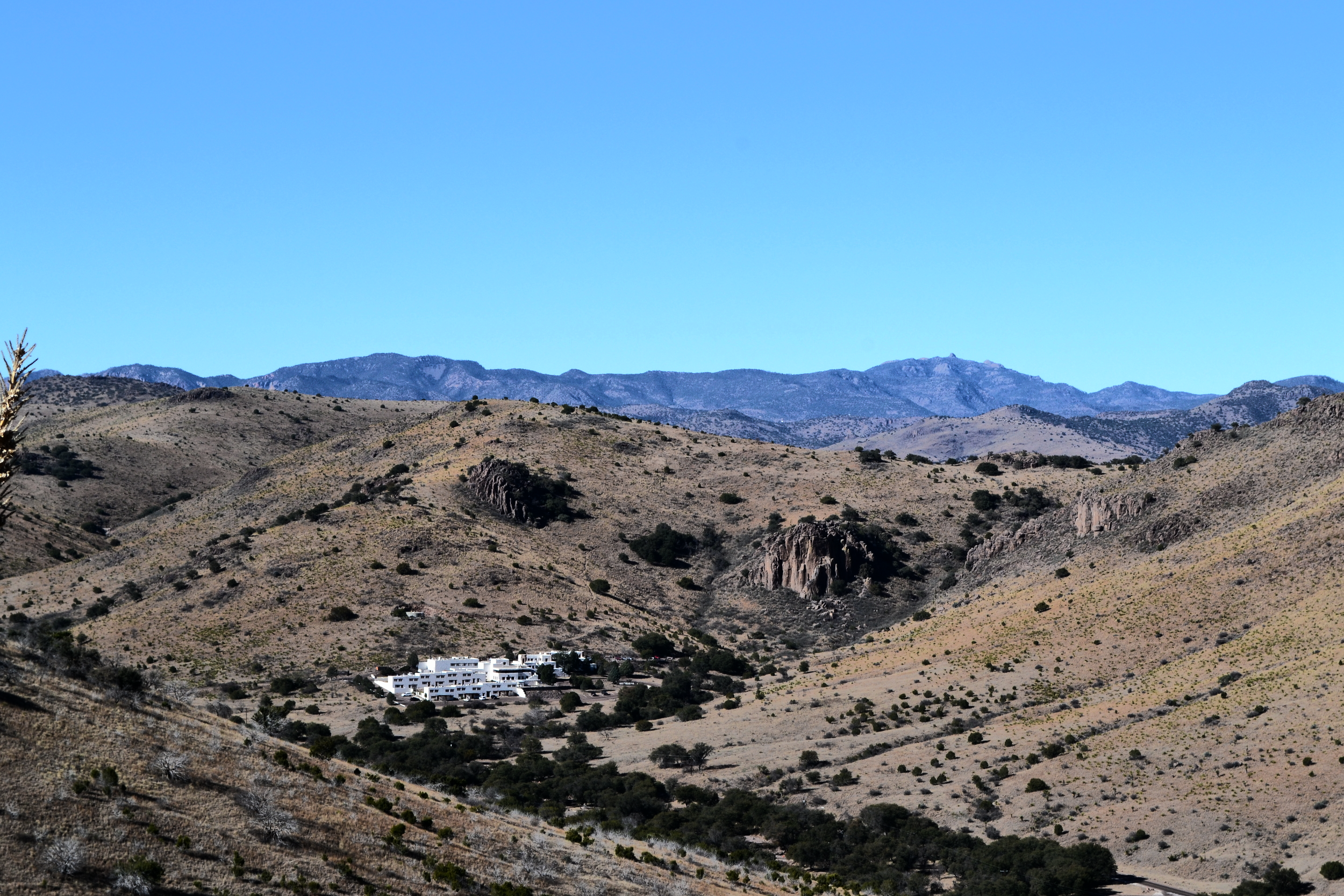 The Indian Lodge, seen here at the foot of the Davis Mountains, was built by the CCC and opened to the public in 1939.