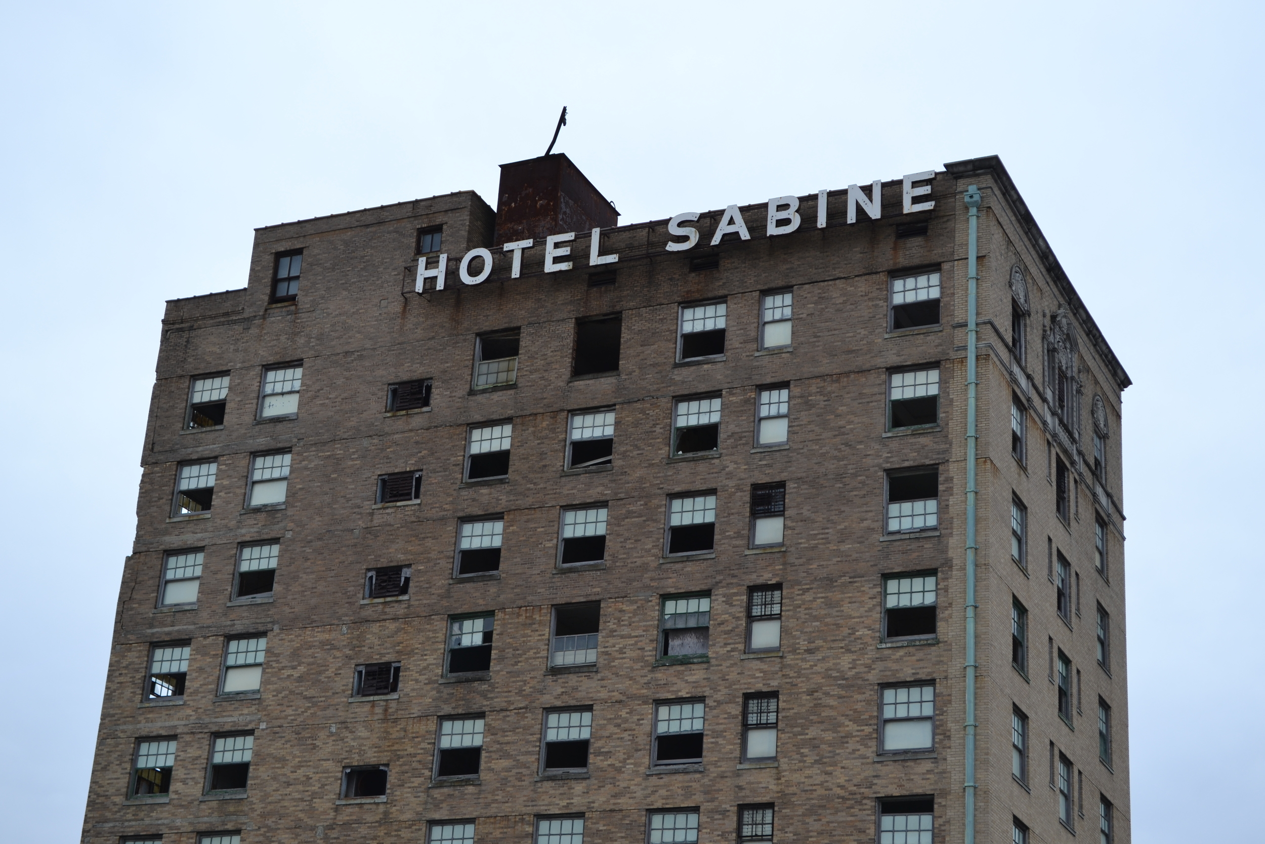 The abandoned, 10-story Hotel Sabine in donwtown Port Arthur, TX