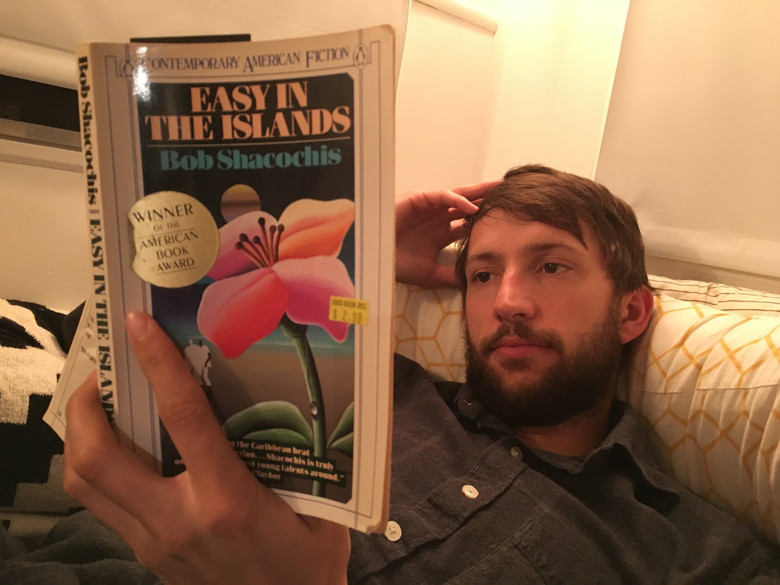 Carson reading Easy in the Islands.