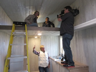 Filming day in the third tiny house we toured!