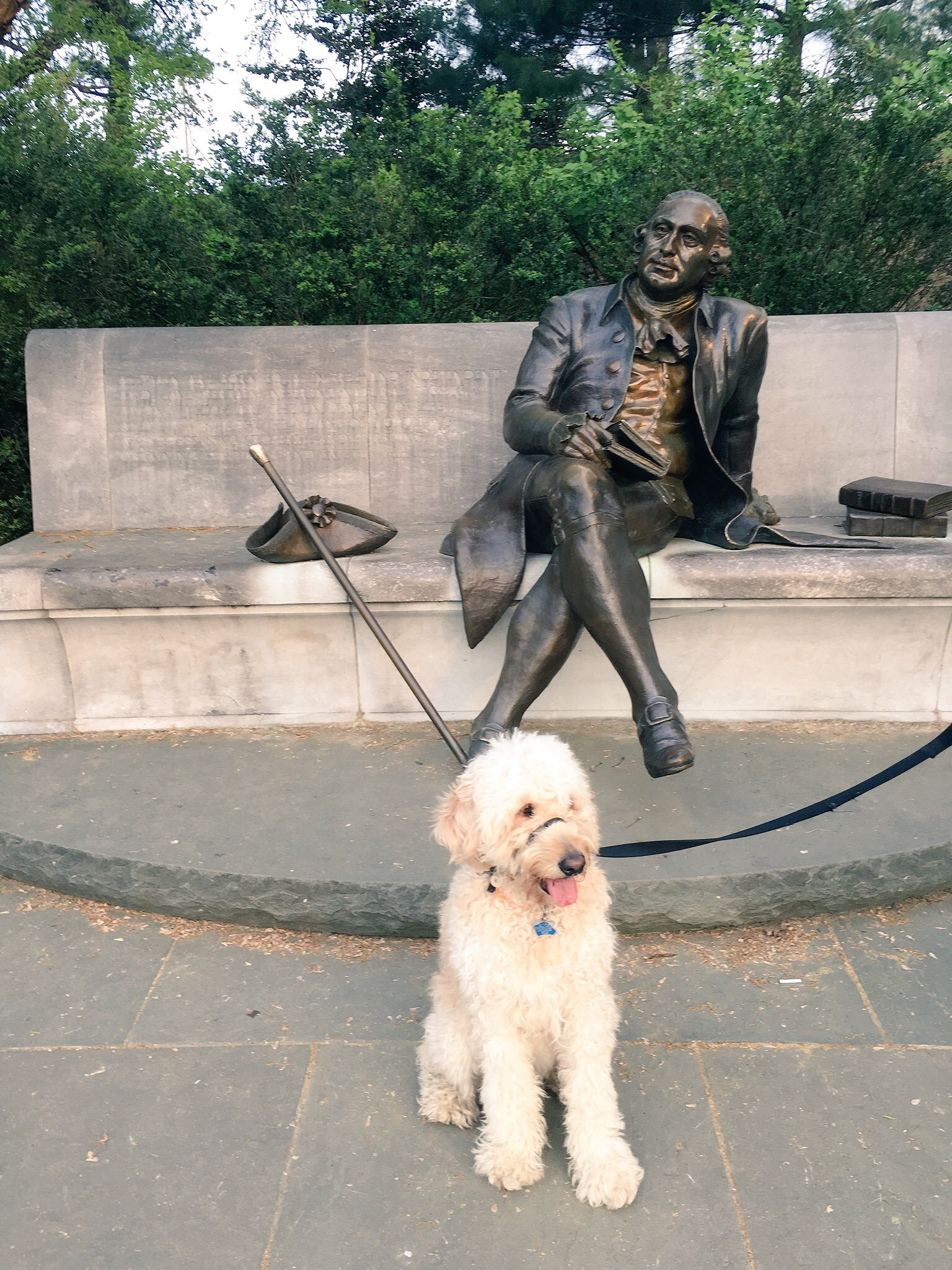Pausing for a moment at the George Mason monument.