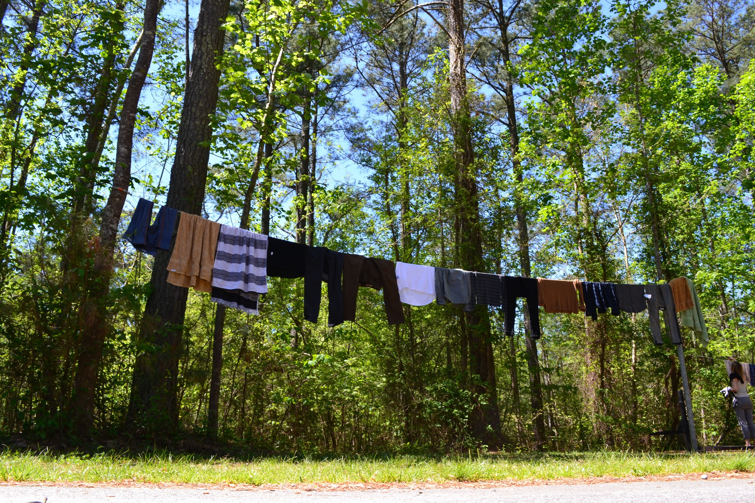 Hack #10: Bring a rope to hang dry your clothes after you wash them. It'll save you money and it's just really fun.
