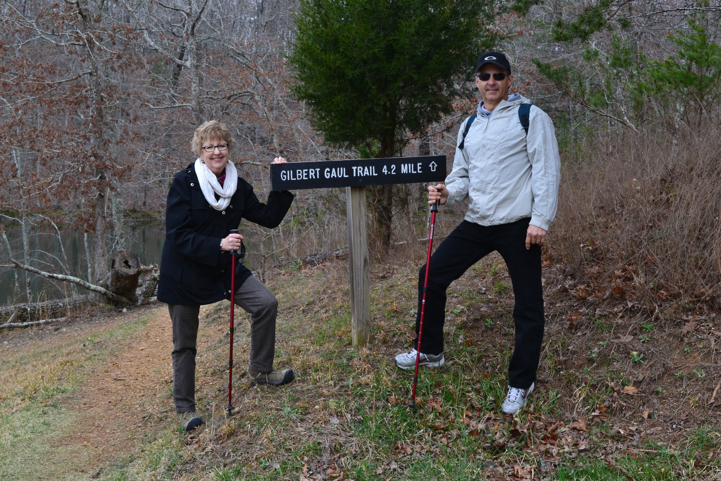 Carson's parents, Mary and Jerry Vaughan, wield their hiking sticks like wizards wield their wands.