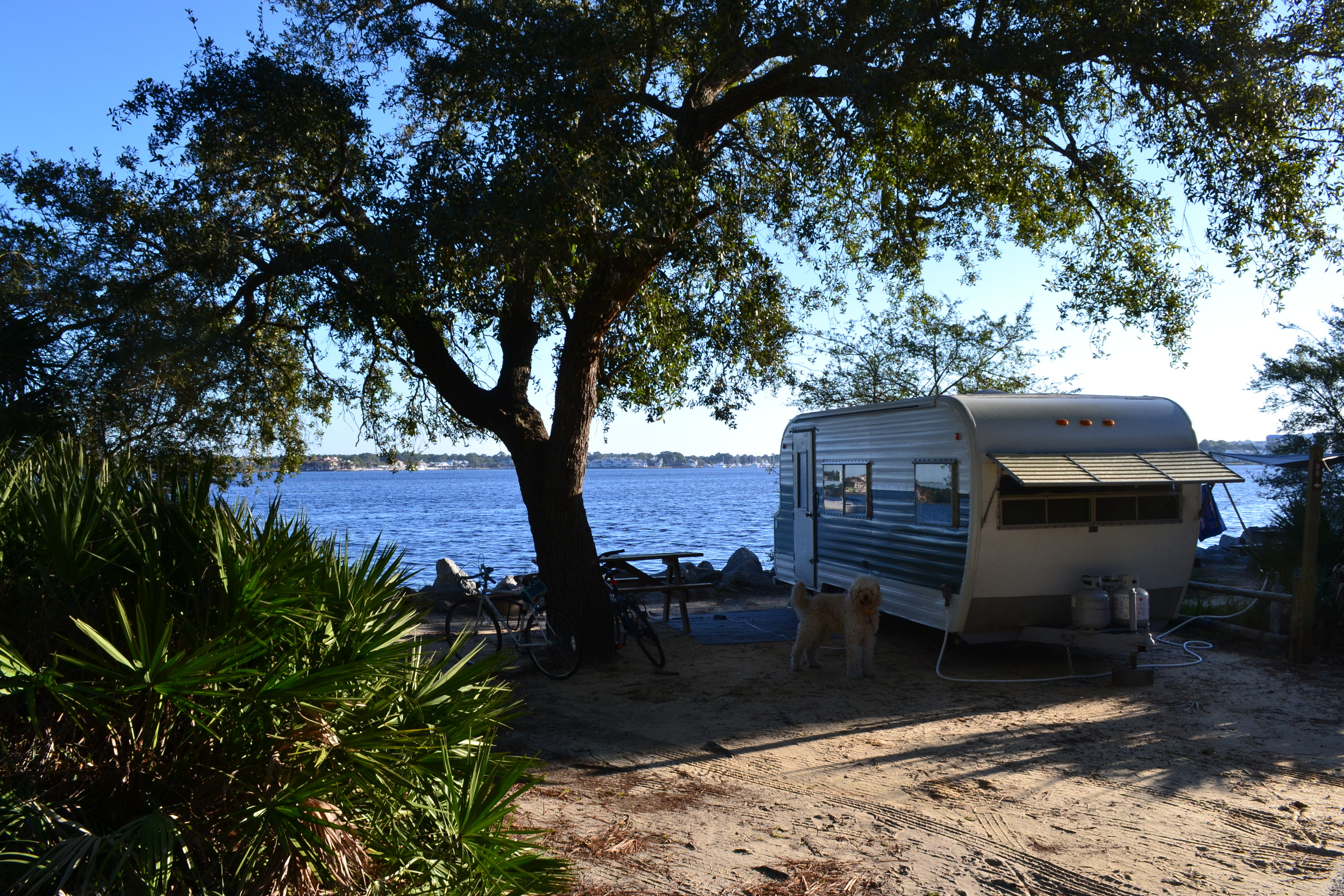 Our primo water front spot at St. Andrews State Park in Panama City, FL.