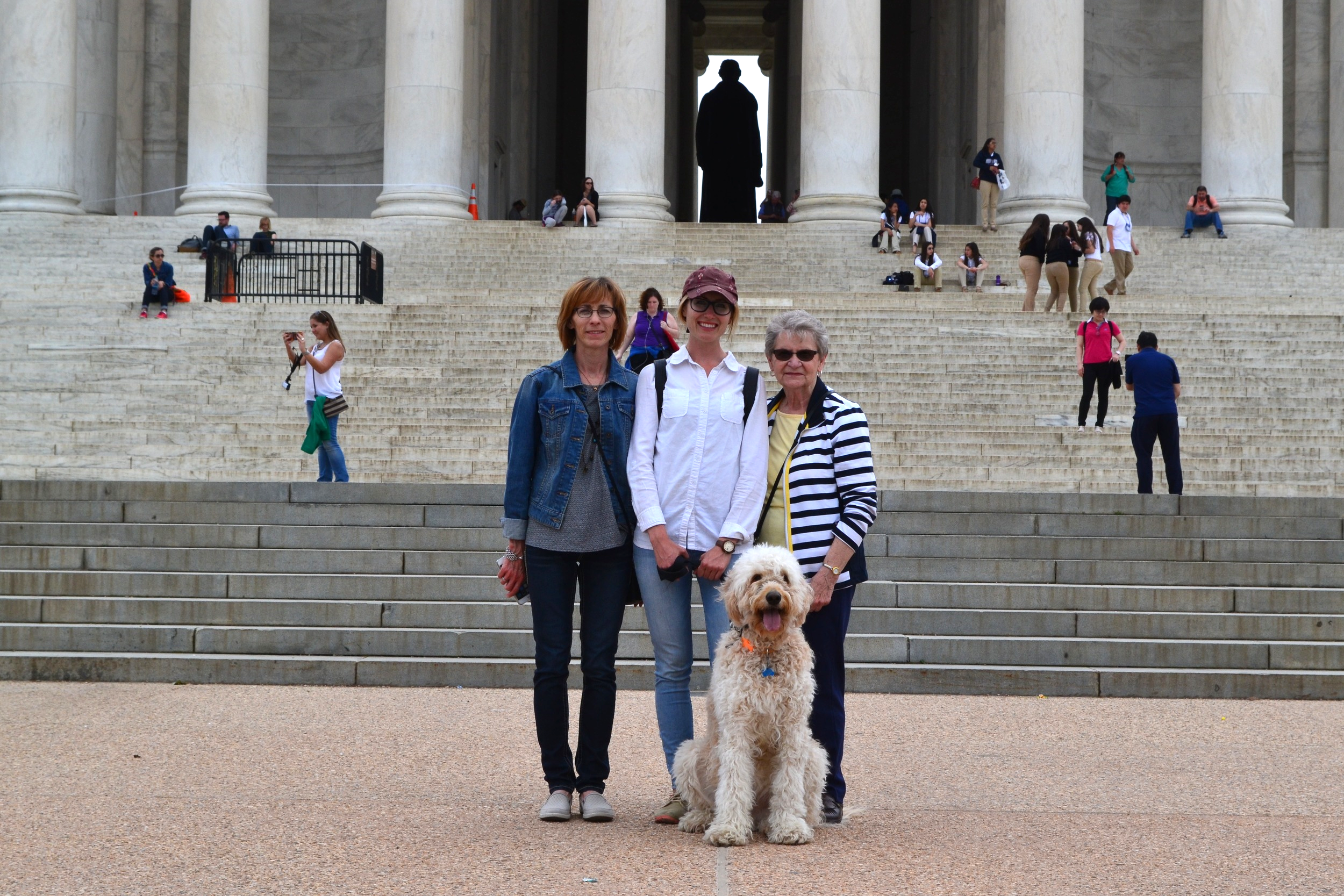 Three generation of women visit D.C. Costello, of course, tags along.