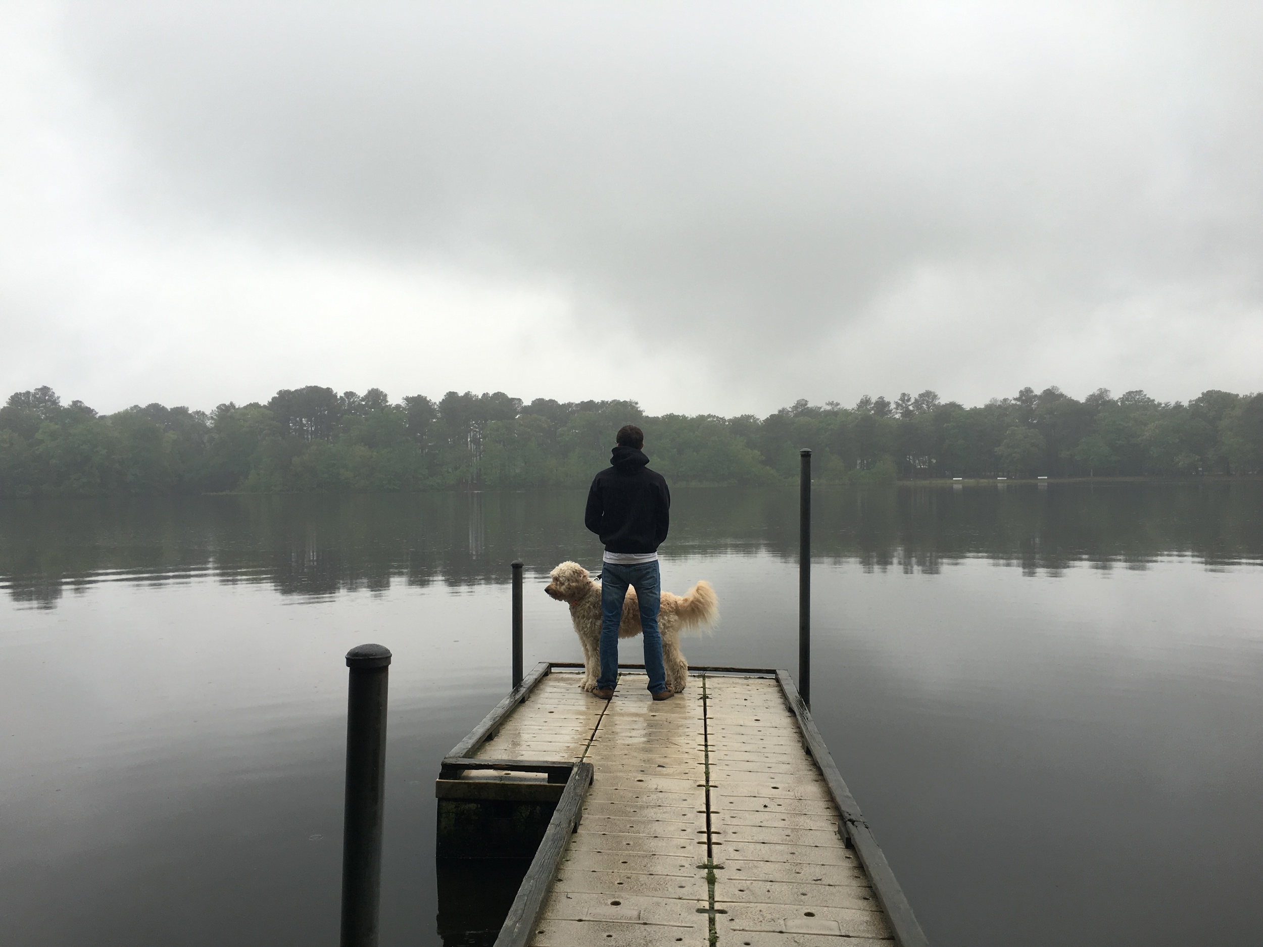 Carson and Costello on a rainy day at Trap Pond State Park.