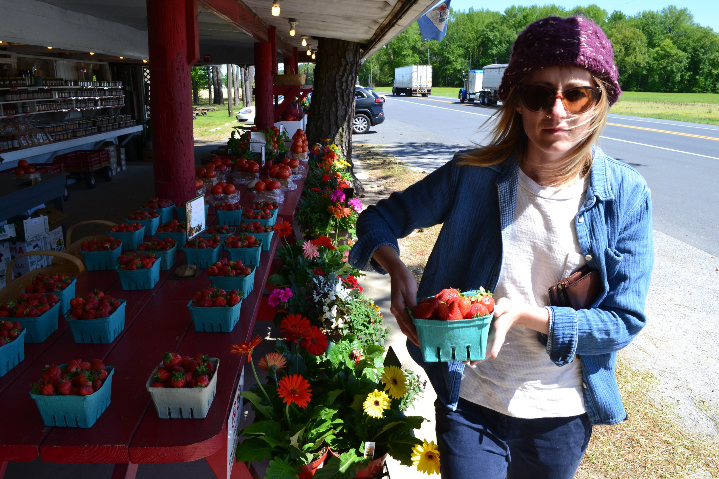 Mel on a mission to buy local produce at one of the many roadside produce stands.