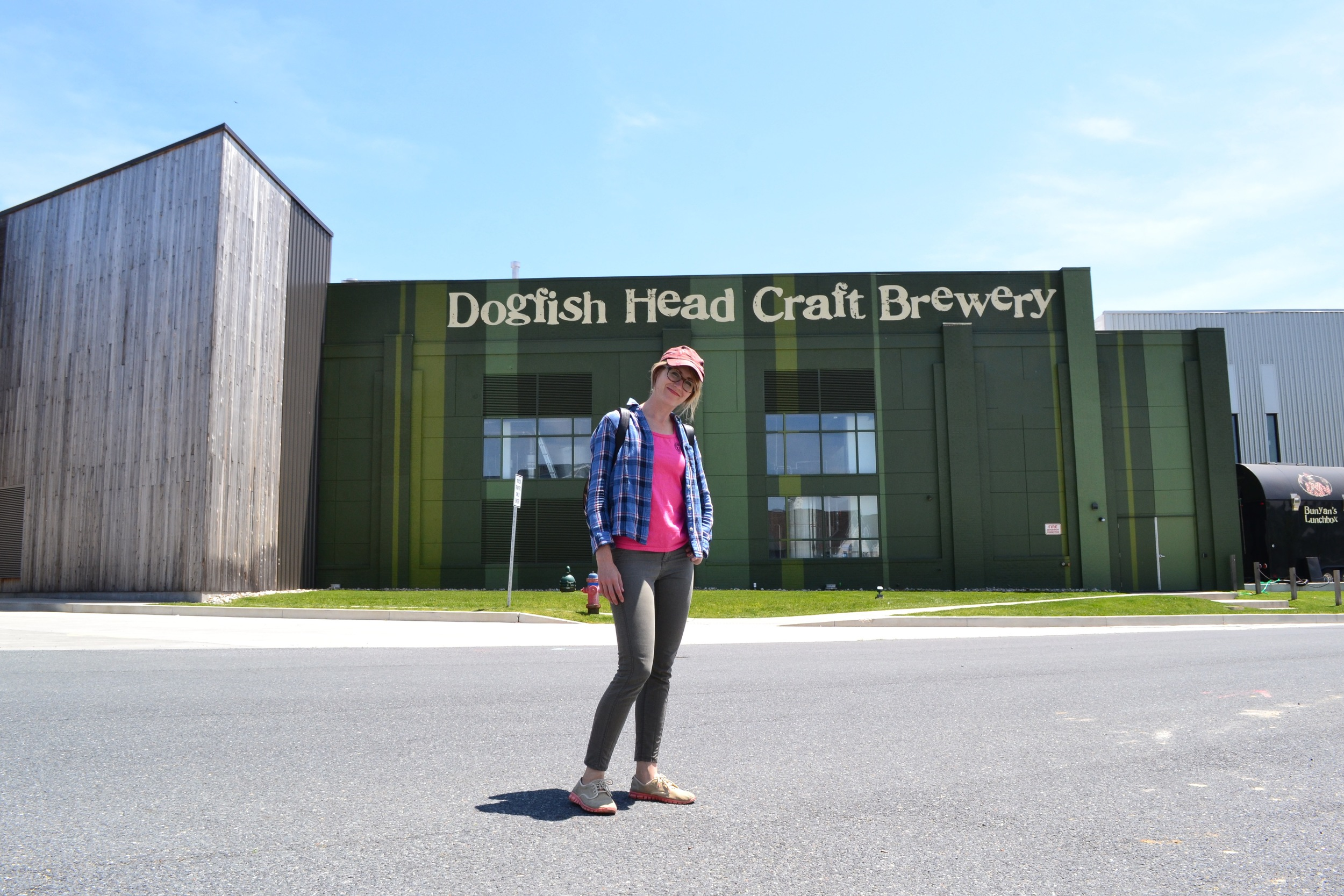 Outside Dogfish Head Brewery HQ in Milton. We had a little FOMO here already.