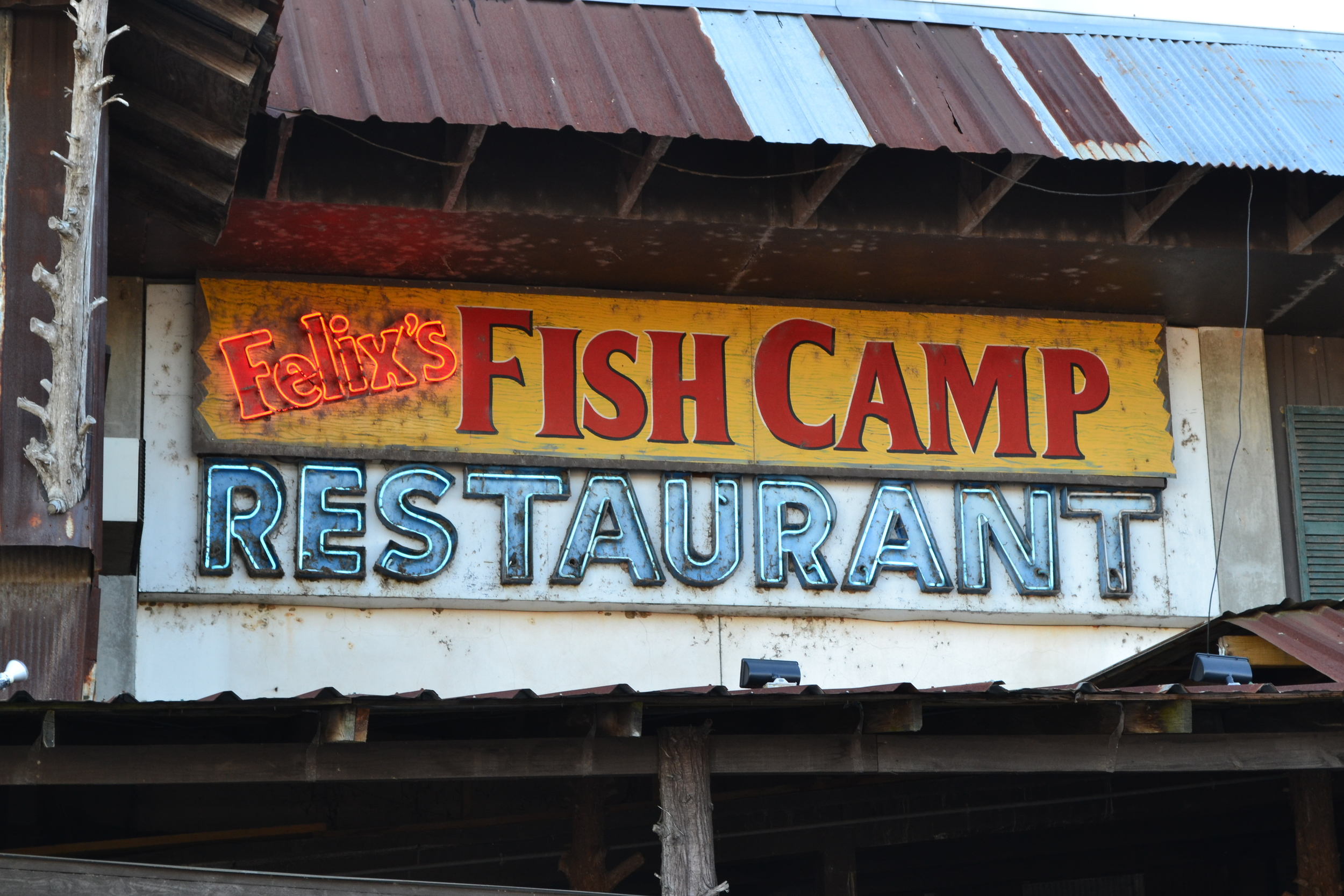 The cool old sign at Felix's Fish Camp. One of the best meals we've had on the trip to-date!