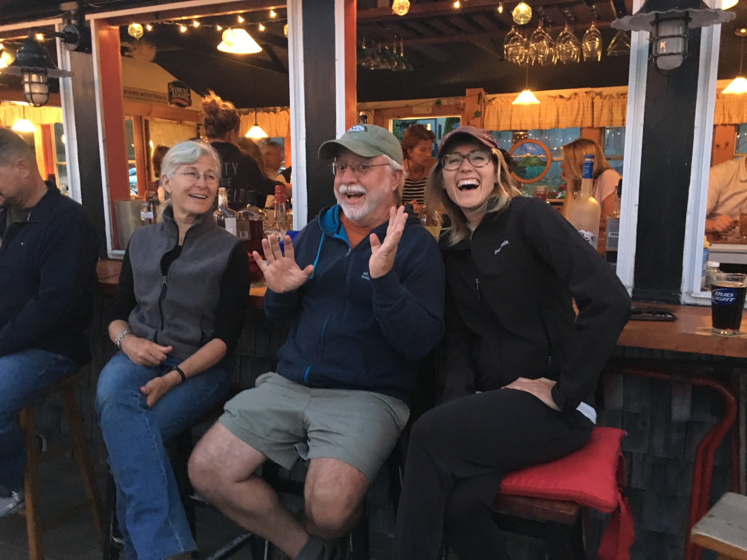 Mel and our gracious hosts in Mt. Desert, Maine. From L to R: Fran Leyman, Carey Kish and Me, Mel! We're waiting for the fireworks!