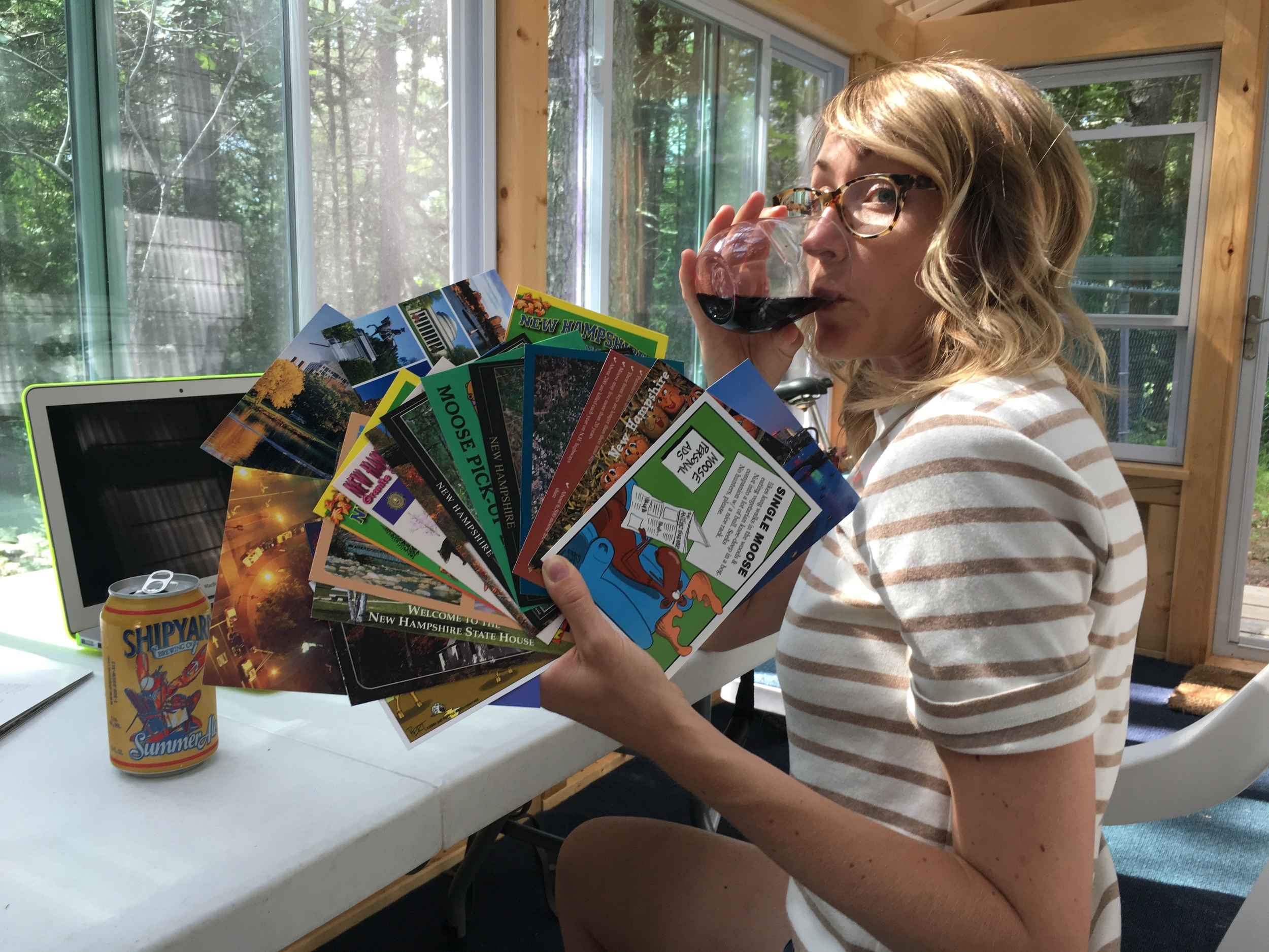 Mel likes to handle mail with a beer AND wine. But seriously though, we love USPS (and mail, too. Please send us some, okay?).