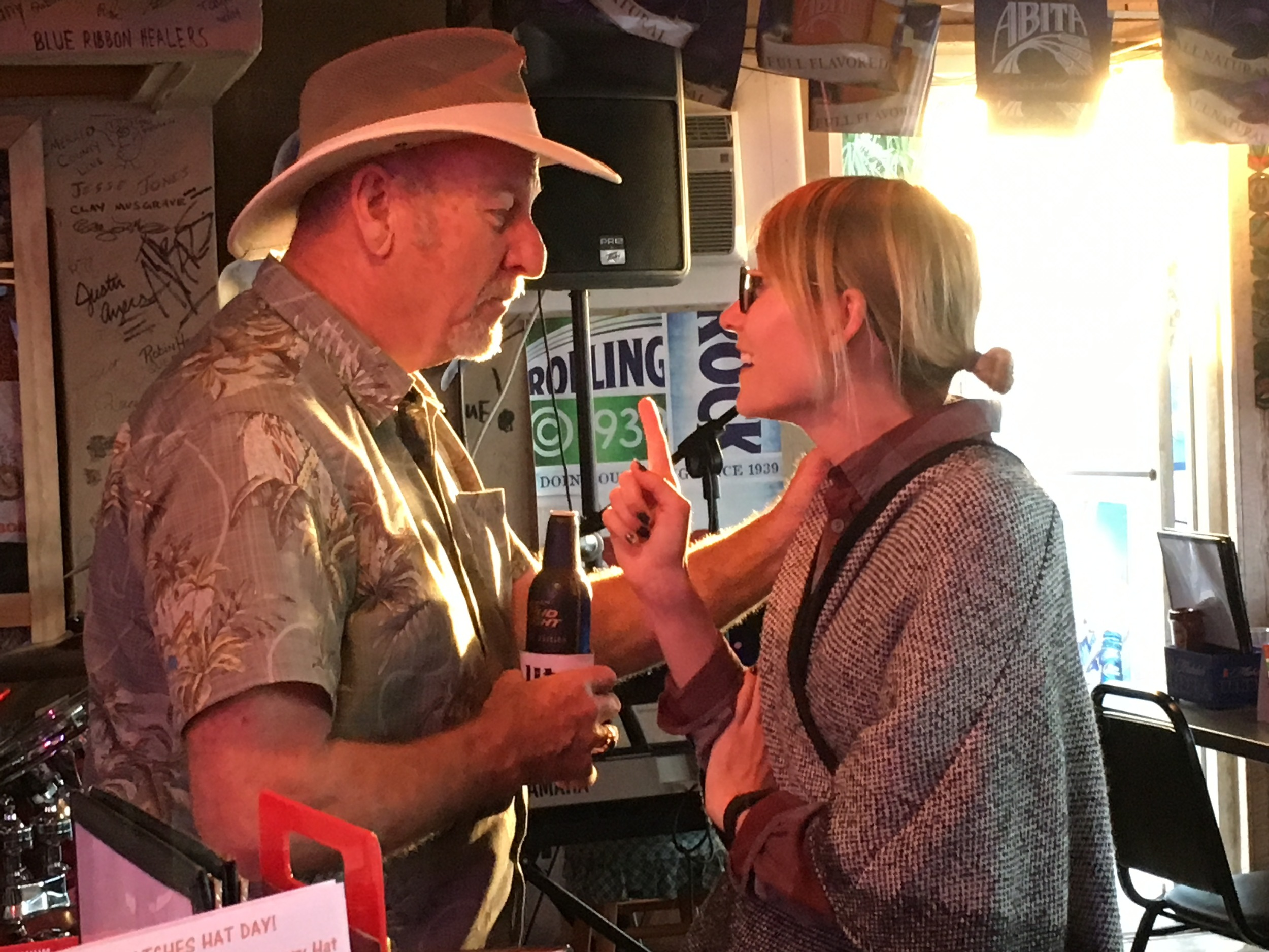 Mel chatting with the Merle Haggard band leader.