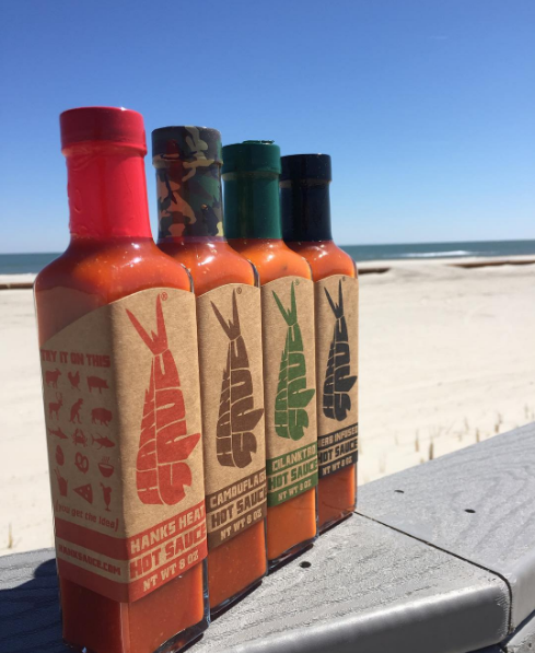 The infamous Hanks Sauce. Mel's fave: Herb Infused (far right). Carson's fave: Camouflage (v. spicy!).
