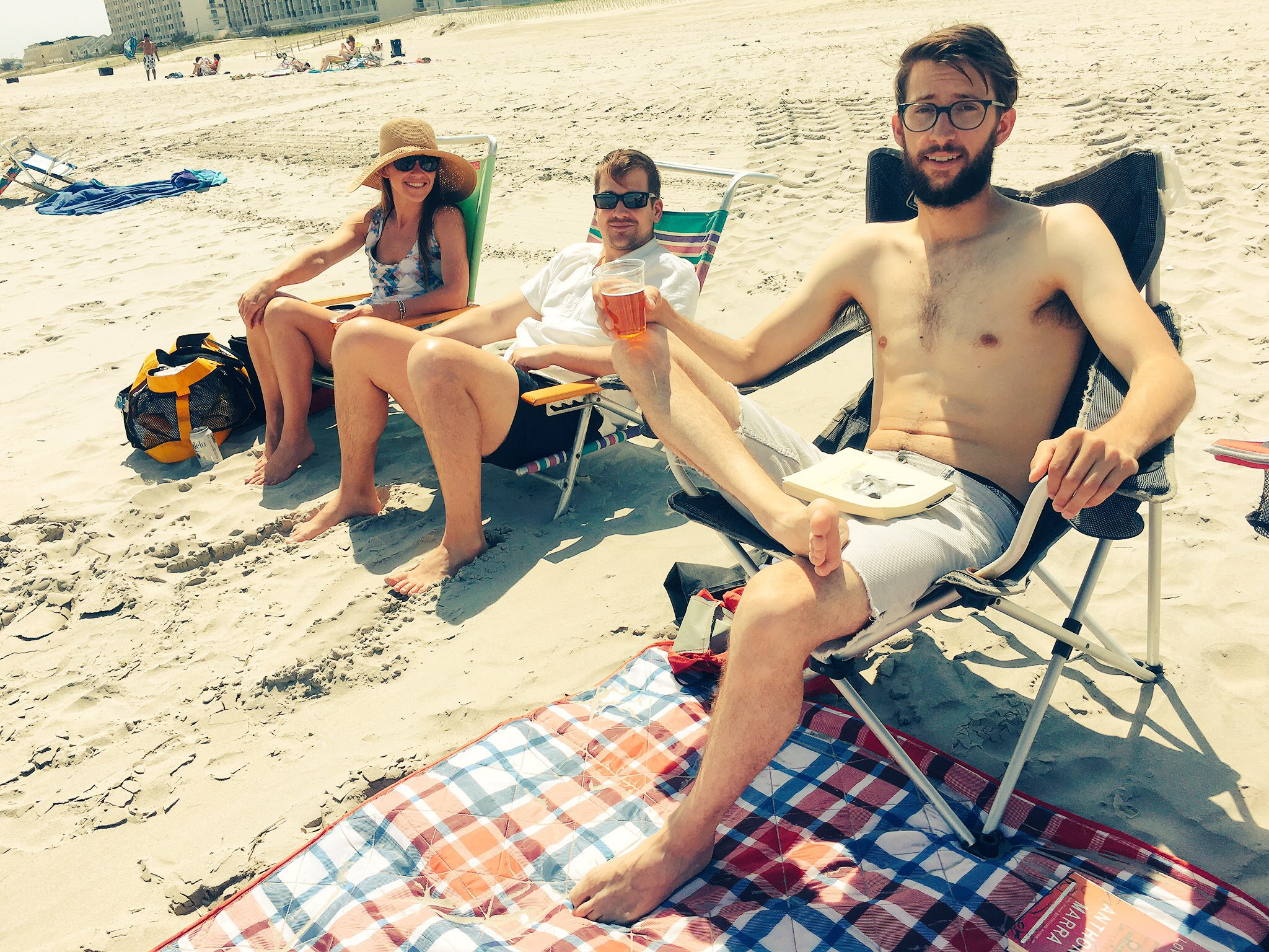 Beach time at the shore! From L to R: Leah, John and Carson.