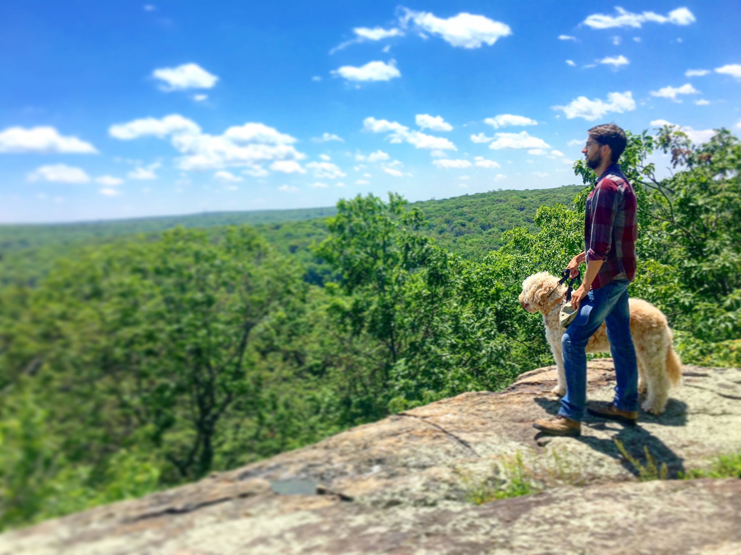Carson and Stello at Headley Overlook in Mahlon Dickerson Reservation.