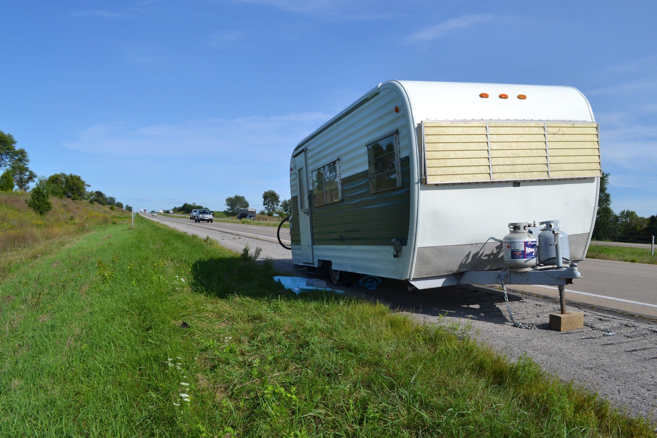 Elsie teetering on the edge of I-80.