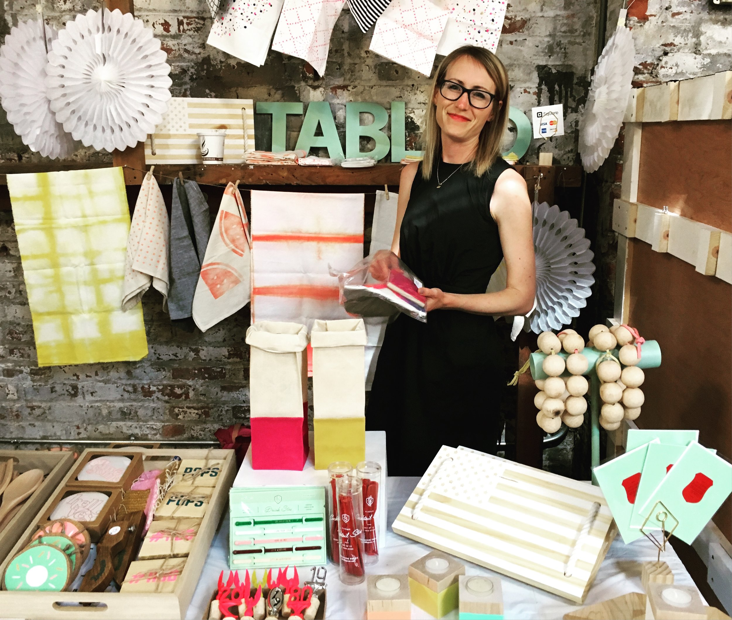 Mel sets up Tabled at Brooklyn Flea over Memorial Day Weekend!