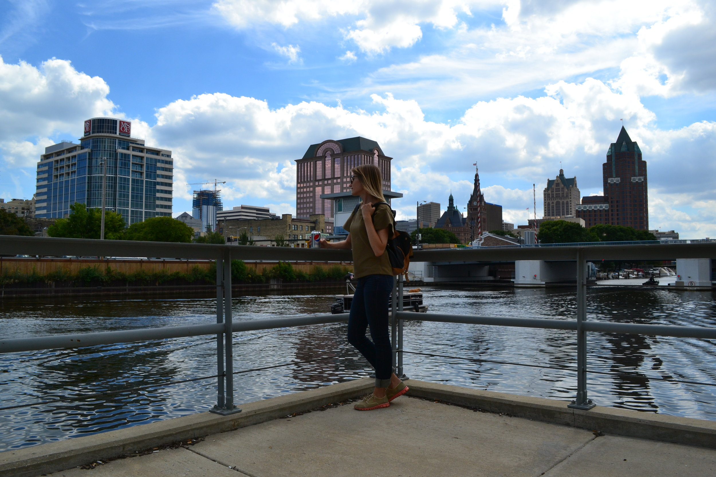 Mel overlooks the Milwaukee River as we strolled the downtown river walk trail.