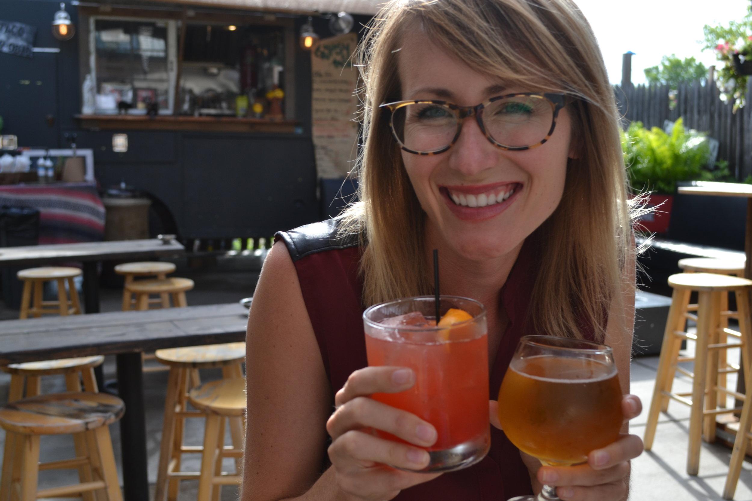 Mel enjoys a Stiegl-Radler spritzer and beer at Boone & Crockett.