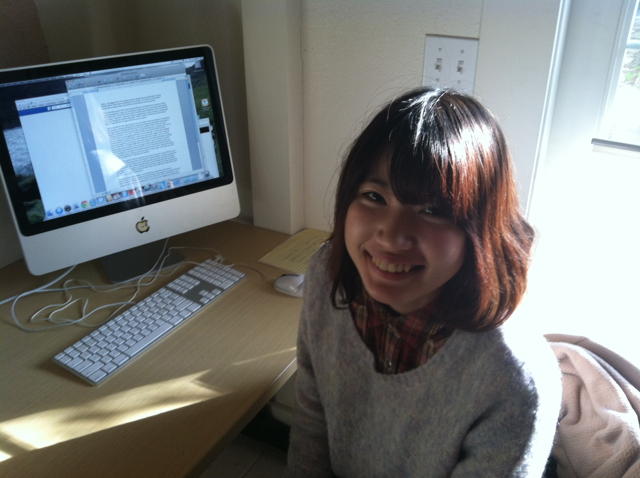 Mana hard at work on her final blog post.