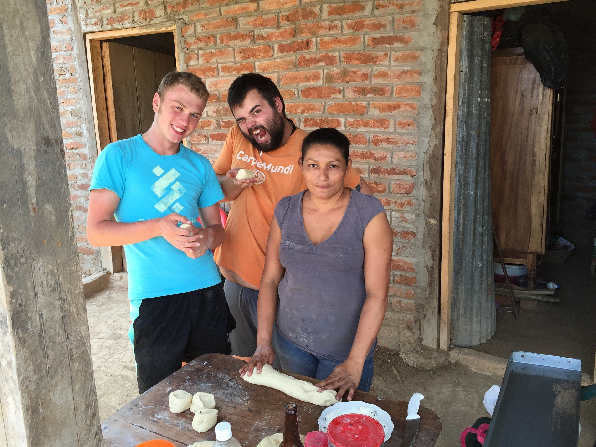 Baking traditional bread with one of the host families in Playa Gigante