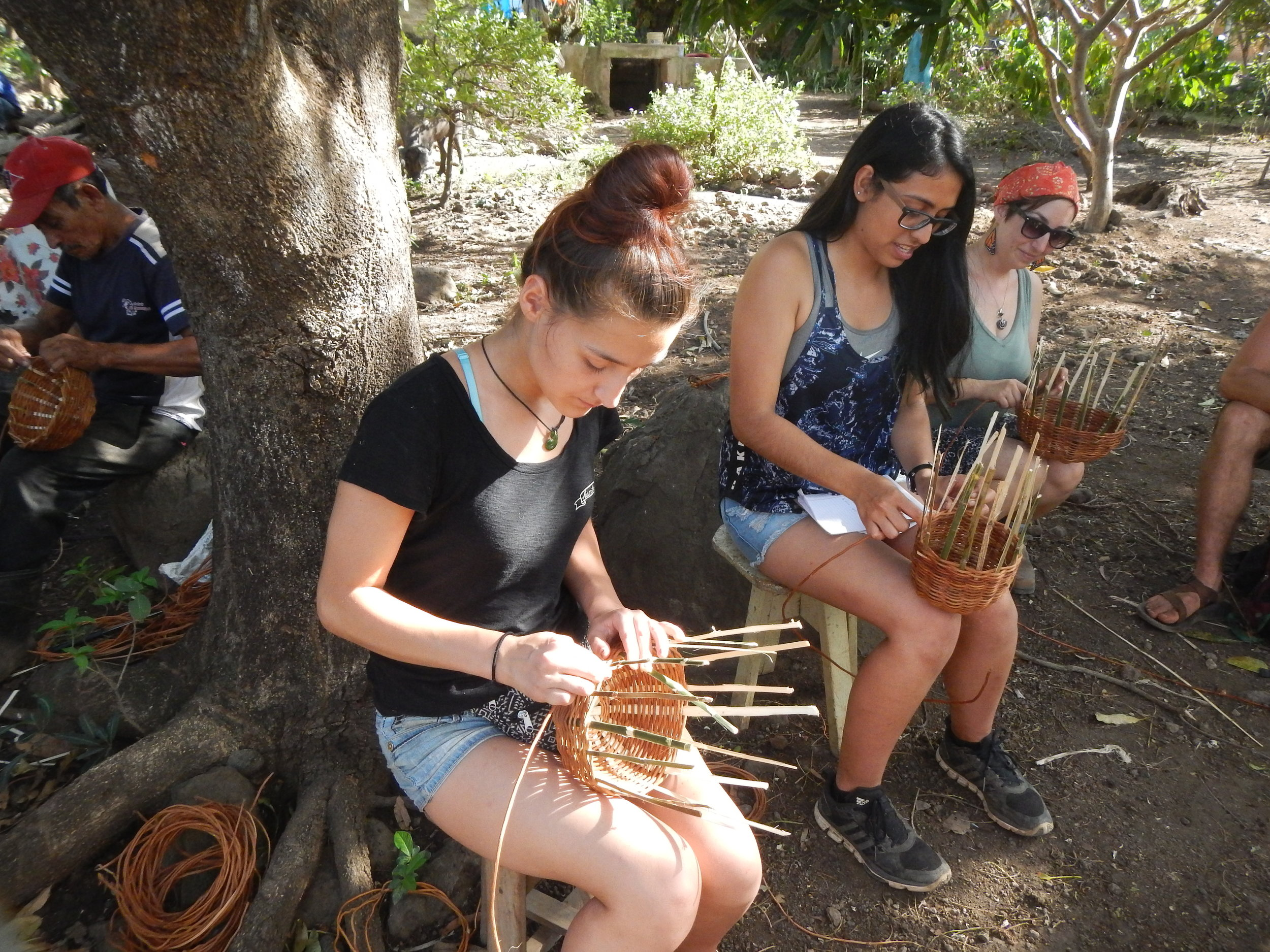 Making baskets from materials from the volcano we hiked