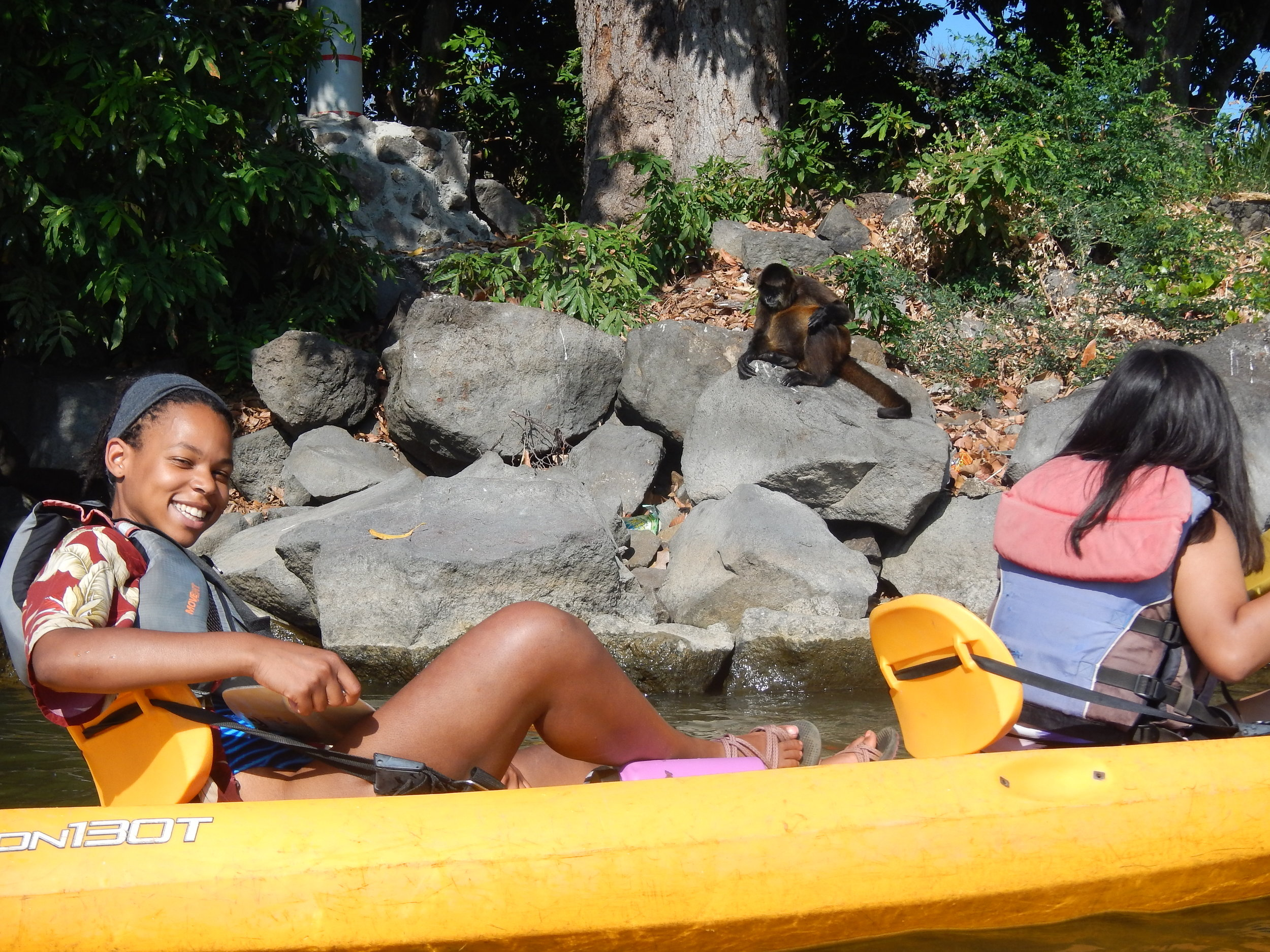Me and Arisbeth kayaking to the spider monkey island