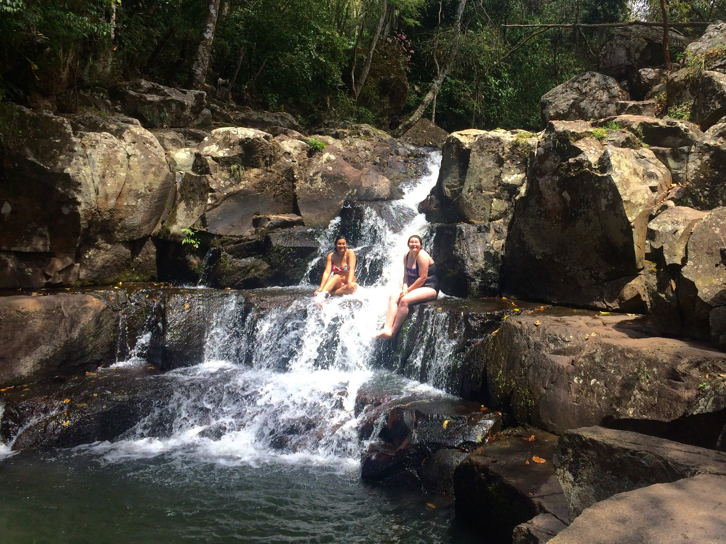 Swimming in a waterfall for the first time!