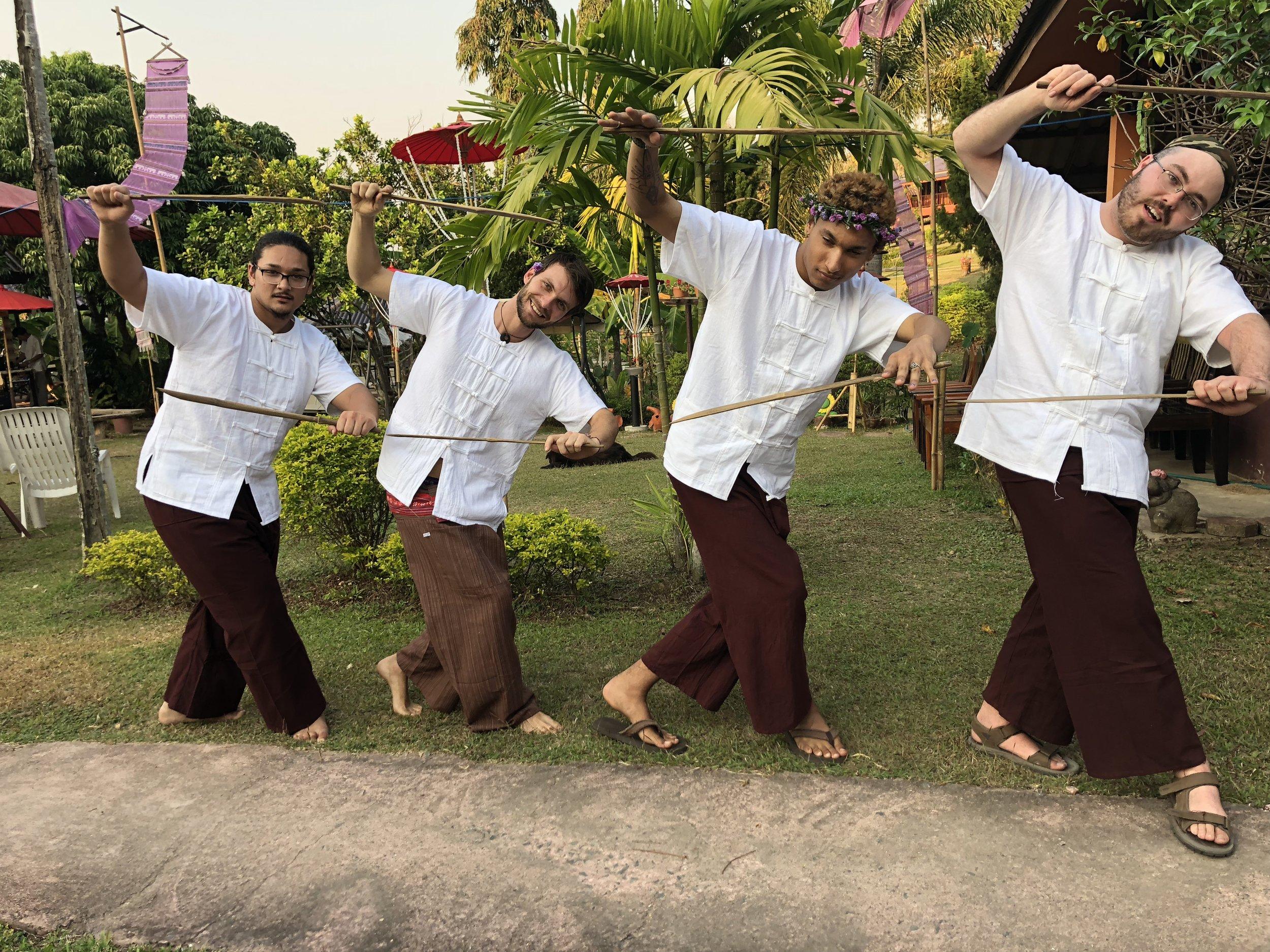 Hathai boys show off their sword dance moves