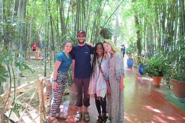 Kayla, Geoff, Vanesia, and Tori posing at Jardin Majorelle.