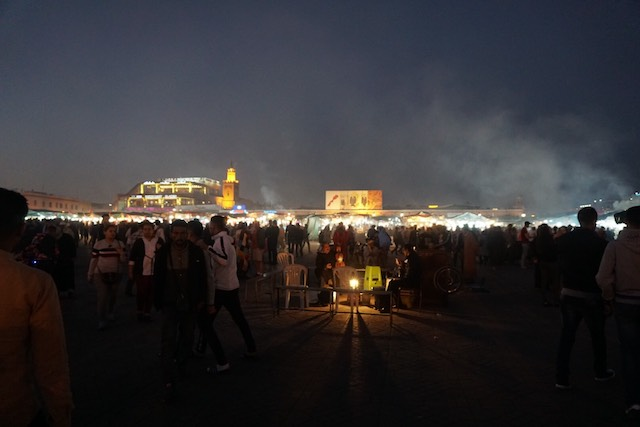 The main square of the Marrakech medina, Jemaa el-Fna, at night.