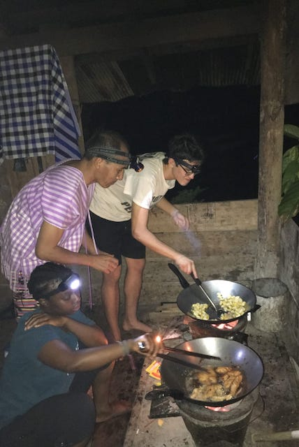 Preparing dinner with Suzin the trekking guide.