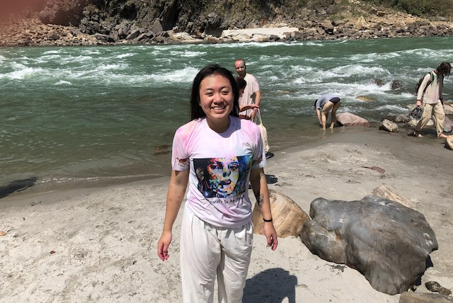 Kari a bit cold but refreshed after bathing in the Ganga in Rishikesh.
