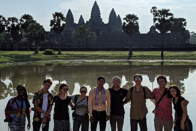 Outside Angkor Wat with our Cambodian guide.