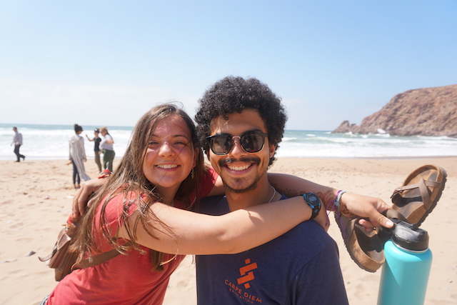Clemente and Kayla enjoying our 10 minute beach stop on our way to Sidi Ifni.