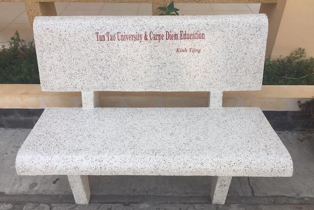A bench named in honor of Tan Tau and Carpe Diem!