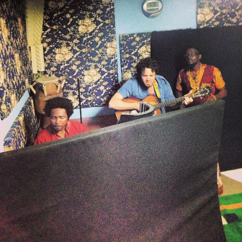 Boakye, Davis and Segbefia on the first day of recording at Vivivi