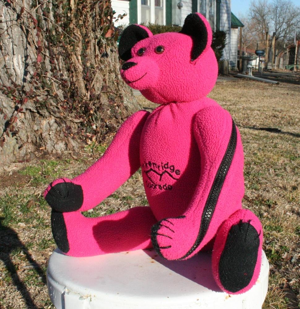 custom order bear from a fleece jacket