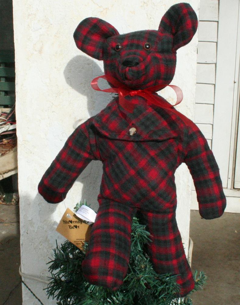 custom order bear from a flannel shirt