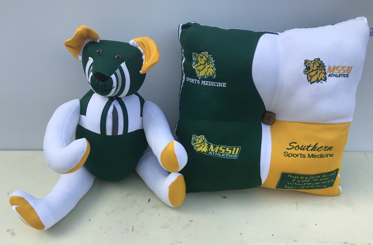 We made this bear and pillow from 4 of those stretchy type athletic shirts. 2018  Melissa sent us this note on Facebook, 12/24/18: These went to a very special family....thanks so much Charles and Vicki!