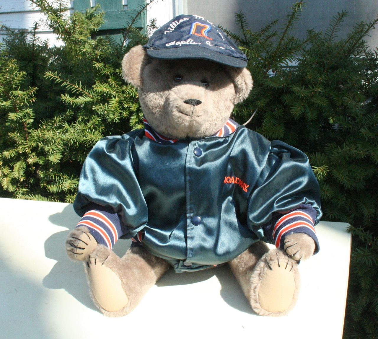 This a bear that we amde and Vicky dressed for Kathy in a hat and jacket she provided. 2017.  3 pictures.