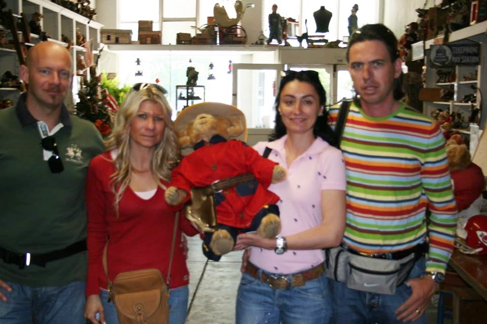 Here are some nice folks from Italy who stopped in for a visit back in 2009. They were touring the US using old Route 66. They spoke more English than I did Italian. But people who like Teddy bears can communicate.She took a wonderfully dressed Canadian Royal Mountie homw with her.