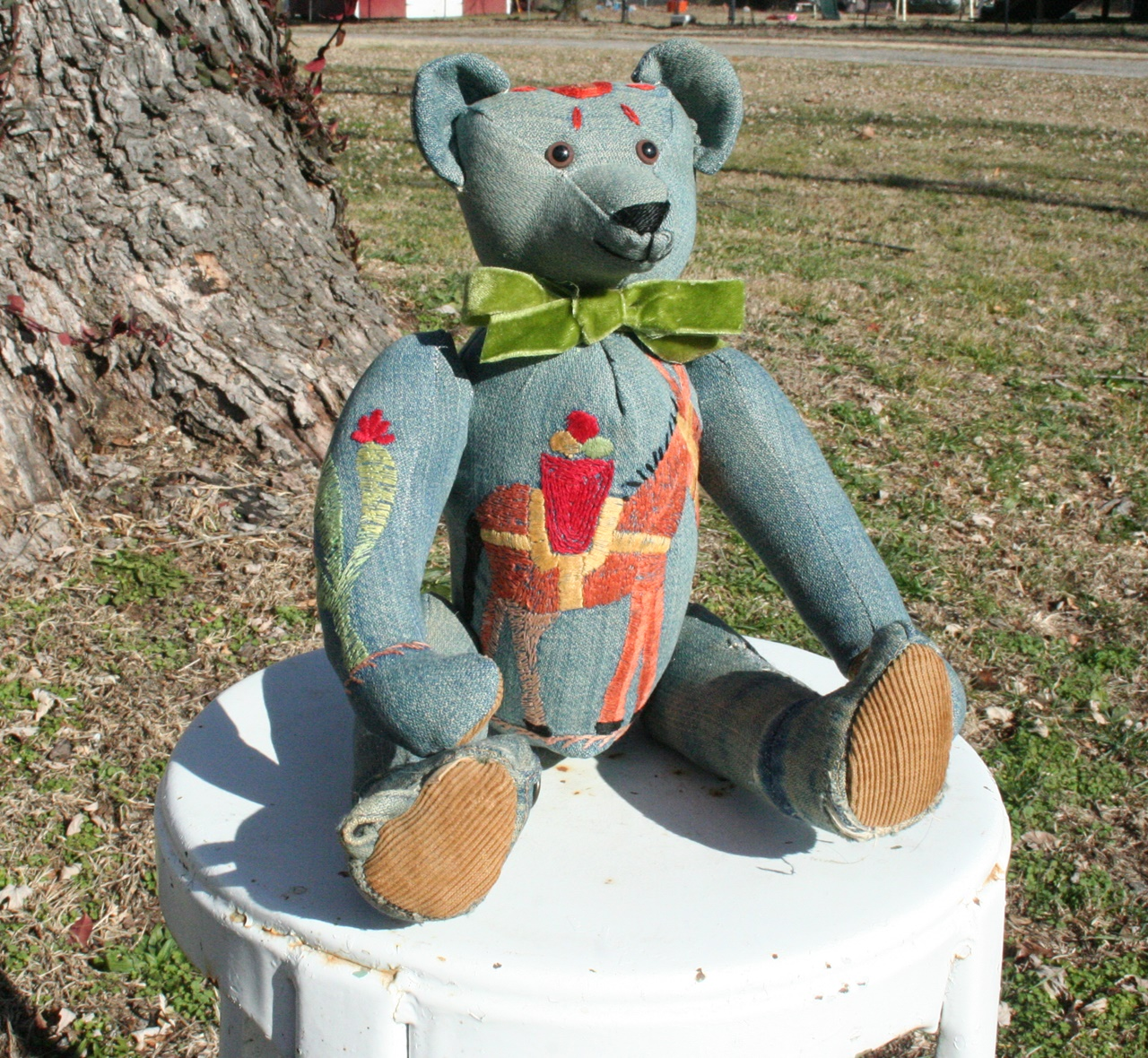 "2015: I am so excited!! See this guy? His name is ""Panchito"" and he is my newest bear in my collection..he has a great history! When the kids were little--Becca needed a play coat--but money was too tight-the kids' dad's VA benefits had not kicked in yet. I went to town to run a errand for tractor parts--I saw a garage sale--why stop? I only had a bit over 1.00 in change in my purse. I stopped---and I found this little lined Wrangler jacket--.25! Becca wore it and 4 more kids after her. I could never bear to part with it--sometimes I would hang it out--it was always a reminder of how God provides for us. Now two sweet friends have turned the little jacket into a bear for me--and in his chest is a quarter ❤️. Perfect--!! Thank you so much Charles and Vicky Stearns...."