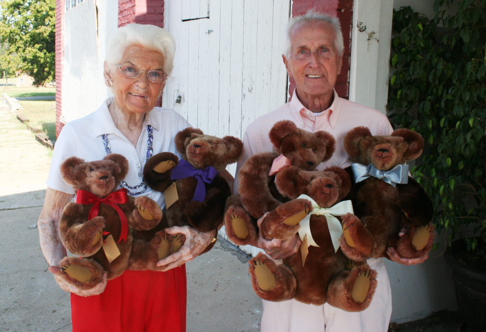 """5 16"""" tall bears made from one vintage fur coat for Earl."""