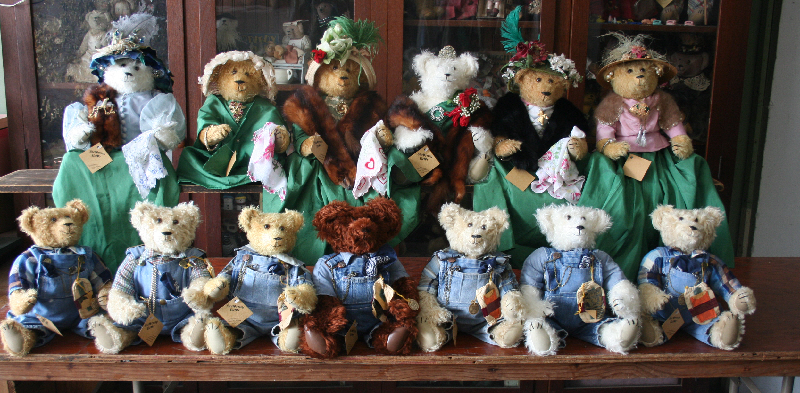 We did this thirteen bear order for the Kliebocker Family in 2013. Each of the adu;t children and thier spouses got a bear. Their dad always always wore overalls so we made the men's outfits from his overalls and shirts. But the ladies are dressed in dresses that Vicky made from the dress thier mother wore on the very first date with thier father. How cool is that.?